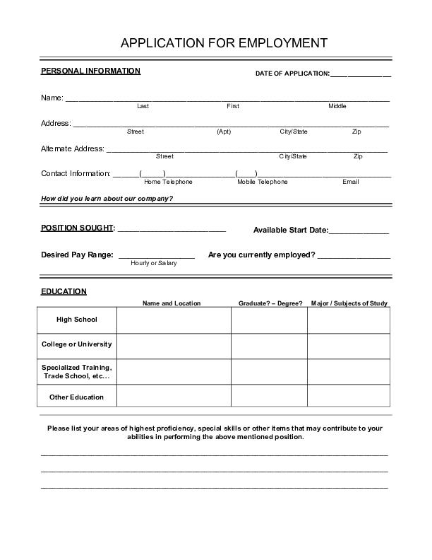 printable blank job applications   zrom.tk