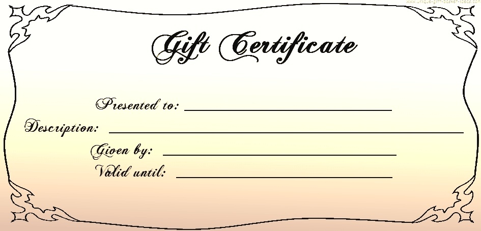 Gift Certificate Templates: printable gift certificates for any