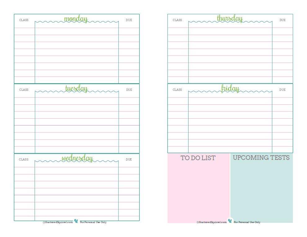 Student Planner Printables | Printables | Pinterest | Student