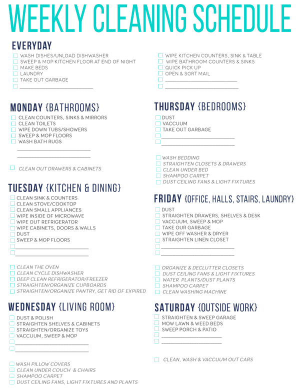 7 Of The Best Free Printable Cleaning Schedules | Cleaning