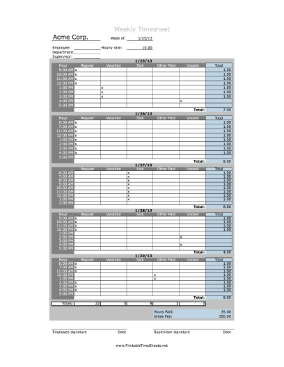 Hourly Timesheet Weekly Printable Time Sheet