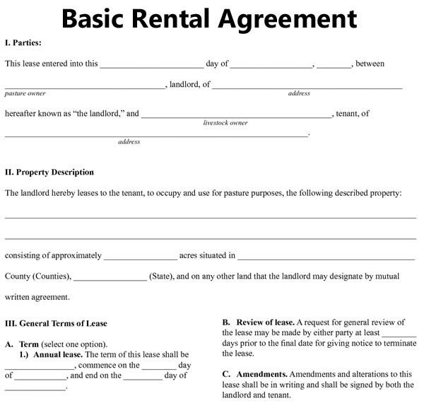 Residential Tenancy Agreement Template Free Basic Rental Agreement