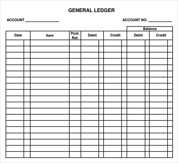 printable general ledger template samples