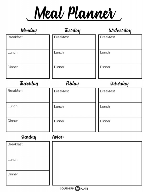 Free Printable Menu Planner Sheet   Southern Plate