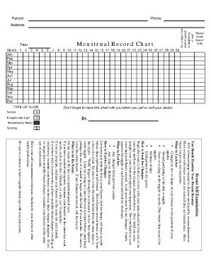Menstrual Record Chart Printable   Fill Online, Printable