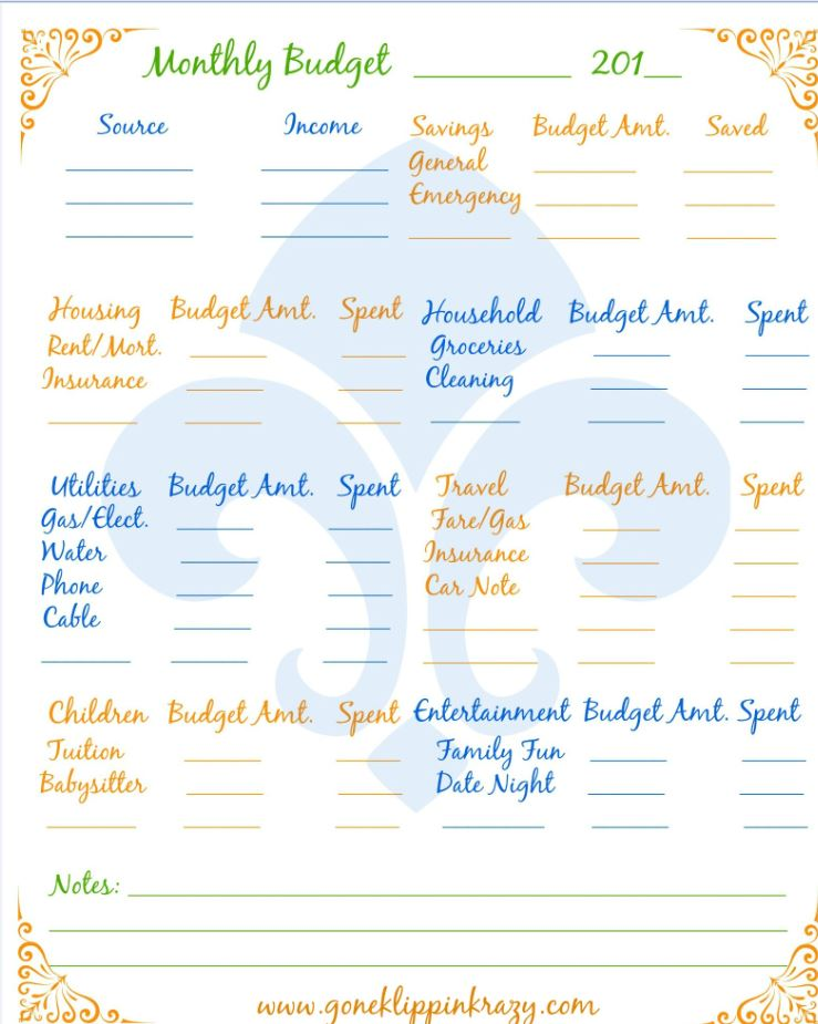 Free Monthly Budget Template | Get Organized | Pinterest