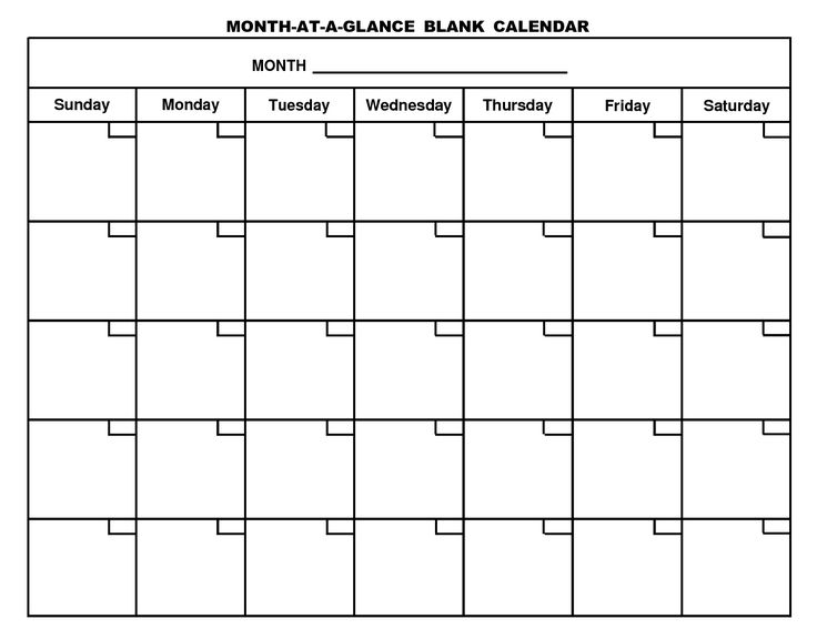 Printable Blank Monthly Calendar | Activity Shelter | Stuff to Buy