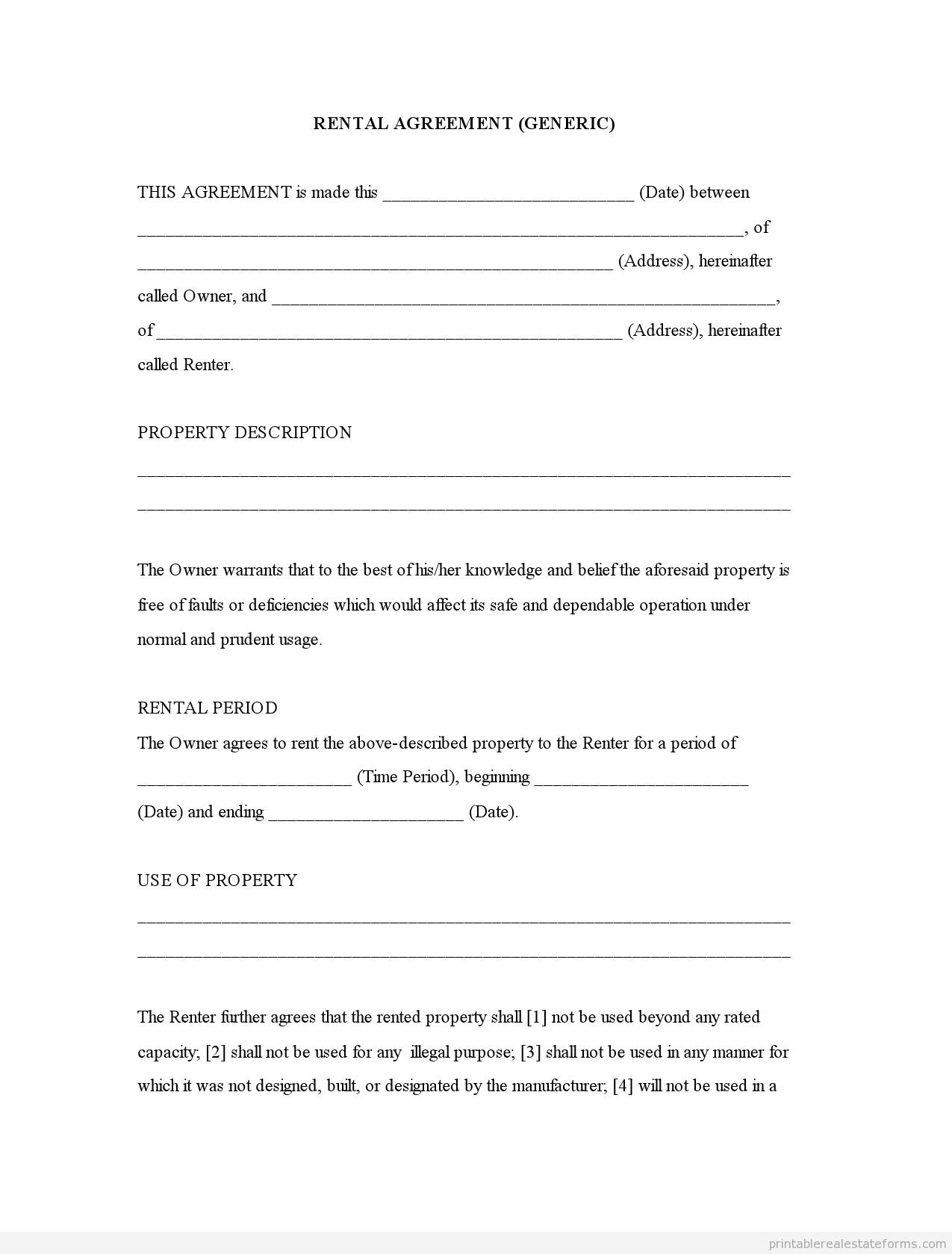Free Printable Basic Rental Agreement | gtld world congress