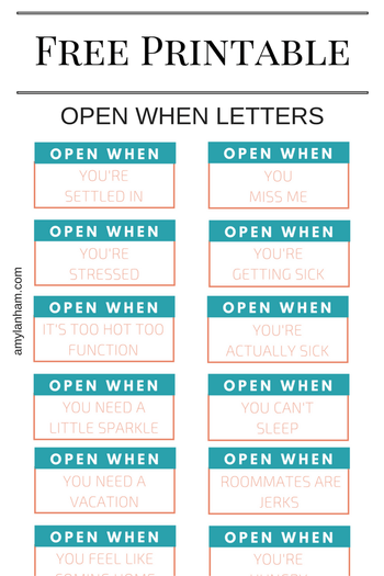 Open When Printable   | Printables and Products | Pinterest | Open