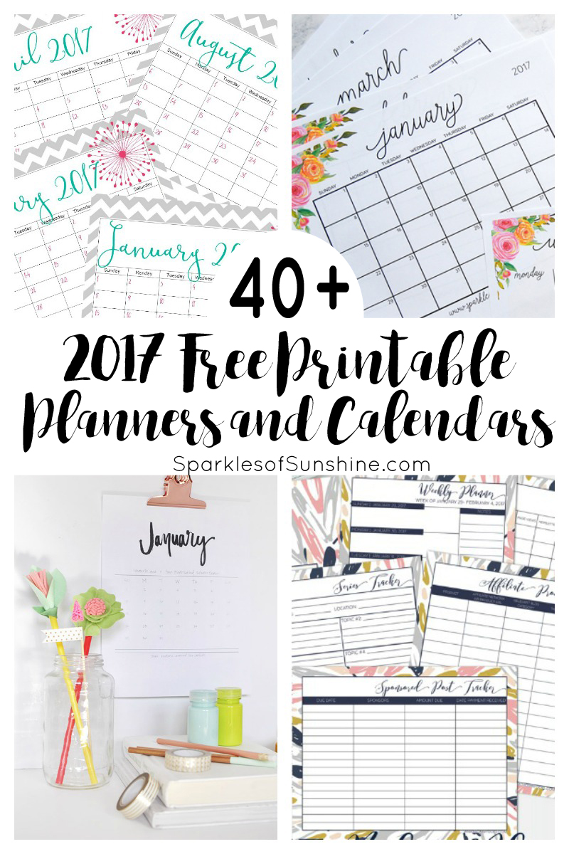 40+ Awesome Free Printable 2017 Calendars and Planners   Sparkles