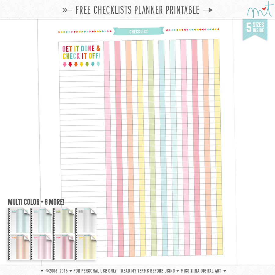 FREE Checklists Planner Page Printables