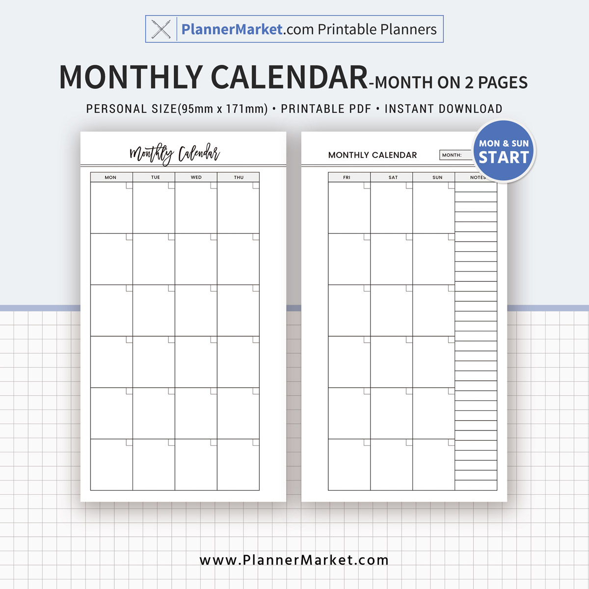 Monthly Calendar, Month On 2 Pages, 2018 Planner, Personal Size