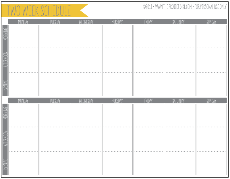 Free 2 Week Schedule Download | Jenallyson   The Project Girl