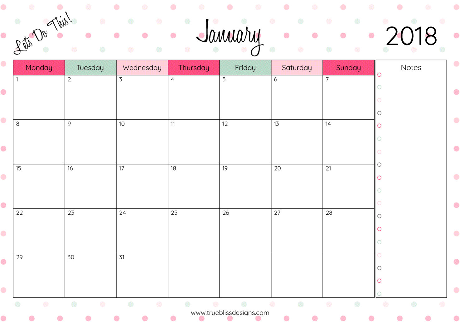 calendar 2018 printable monthly   Demire.agdiffusion.com