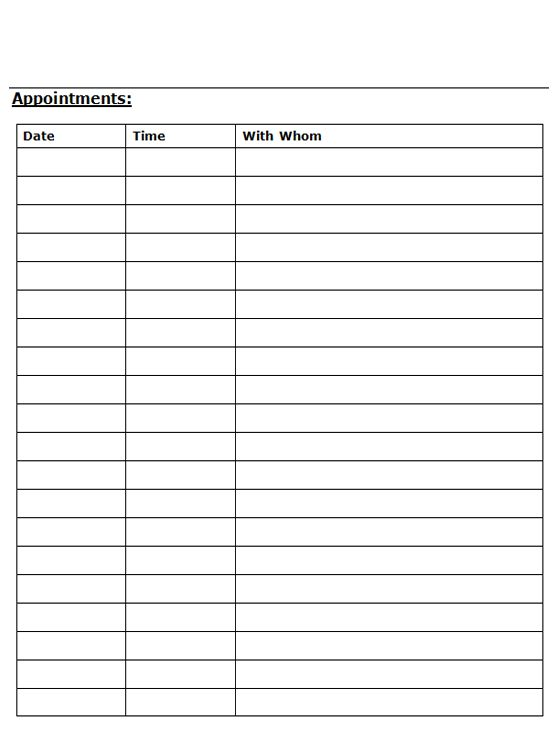 Printable Appointment Sheet