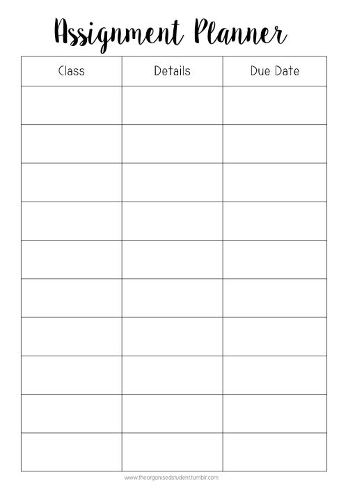 Free Printable High School and College Course Assignment Planner
