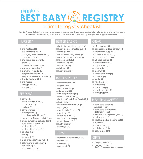 Baby Registry Checklist Templates – 12+ Free Word, Excel, PDF