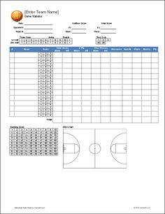 Free! Printable basketball stat sheet to keep track of players