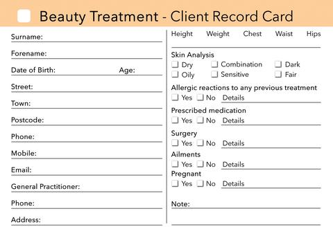Printable Beauty Client Record Cards Download Shop Fresh