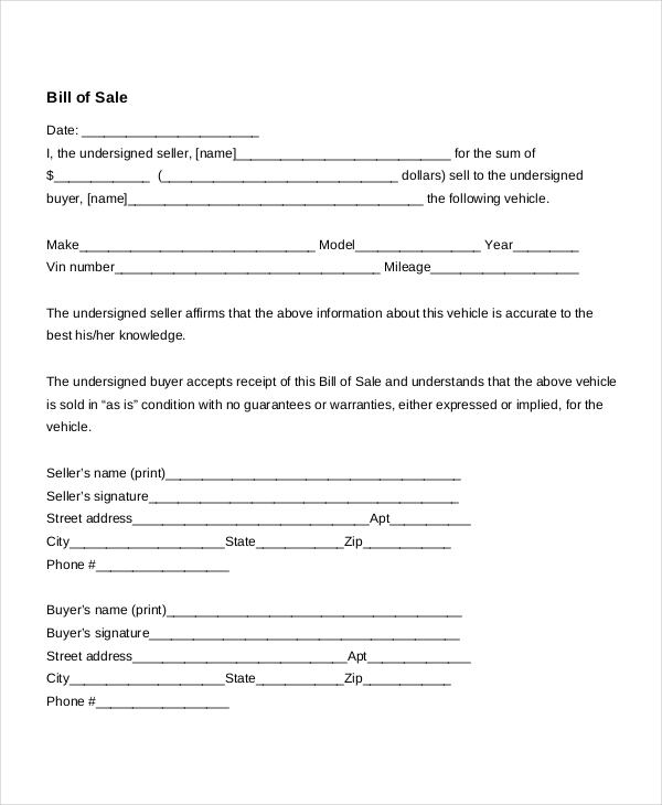 Auto Bill Of Sale   8+ Free Word, PDF Documents Download | Free