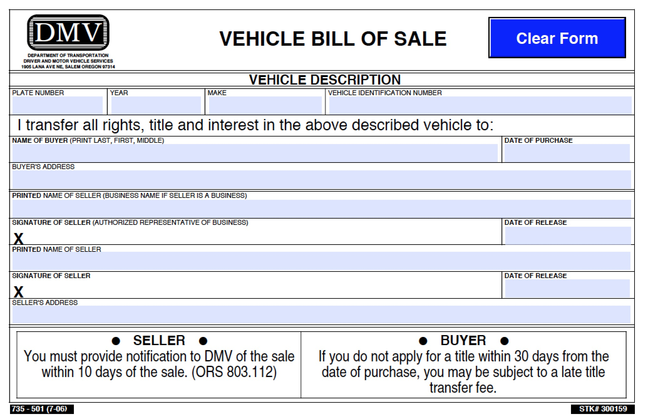 Free Oregon DMV (Vehicle) Bill of Sale | 501 Form | PDF | Word (.doc)