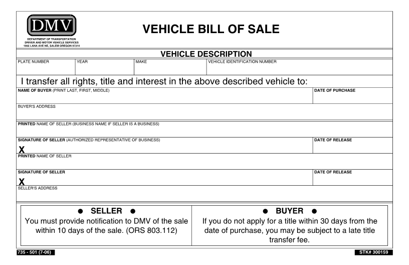 Free Oregon DMV Bill of Sale Form   Download PDF | Word