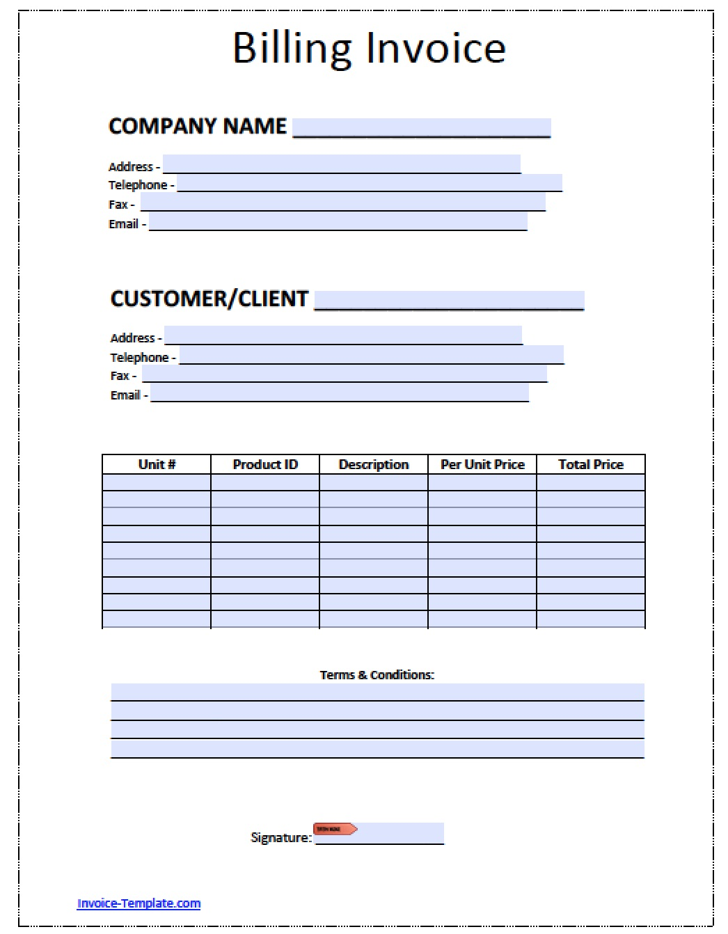Free Printable Billing Invoice Forms Filename | radio merkezi