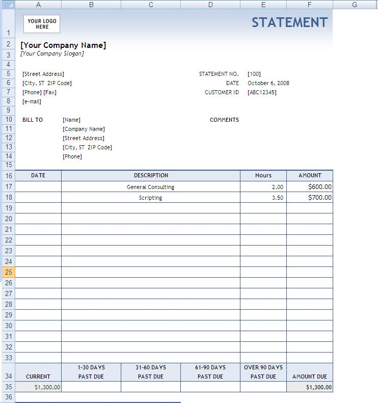 Free Printable Billing Statements 8   reinadela selva