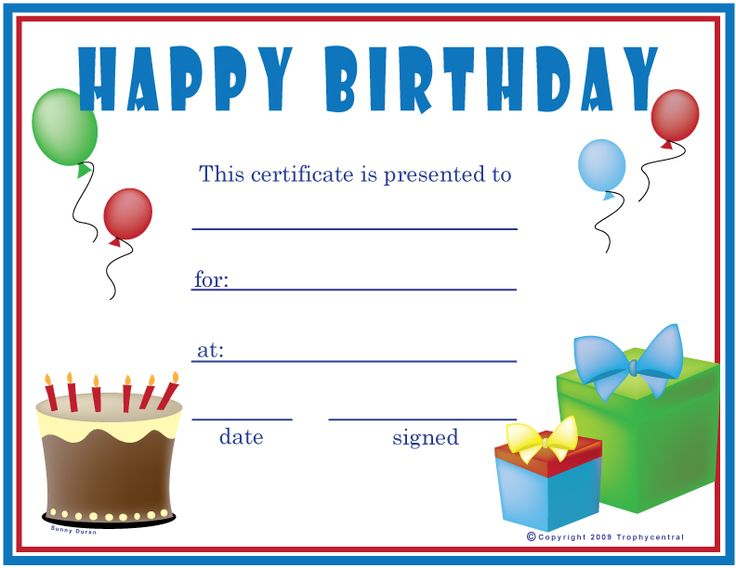 Birthday (Boy) Certificate | Happy Birthday | Pinterest | Gift
