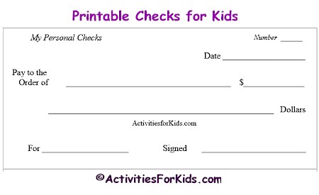 Blank Checks Template   Printable Play Checks for Kids