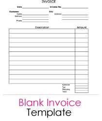 Blank Invoice Form Template Blank Invoice Printable | BHVC