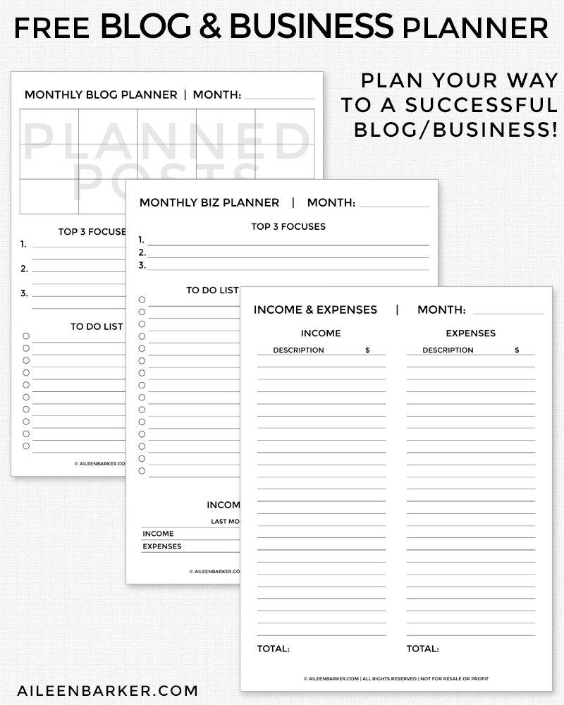 FREE Blog and Business Planner Printable | Blogging | Pinterest
