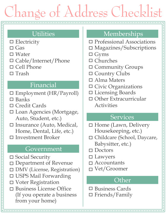 Change of Address Checklist | Home Sweet Life