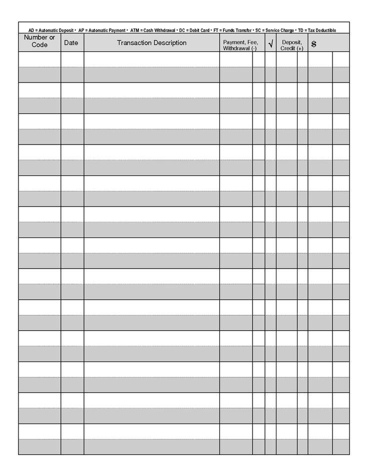 Checkbook Transaction Register Printable Transaction Register Book