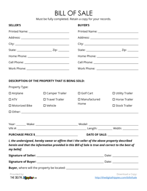 travel trailer bill of sale Forms and Templates   Fillable