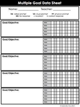 FREE Special Education Data Sheets (editable) | Data Chart