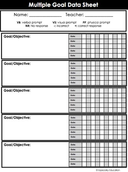FREE Special Education Data Sheets (editable) by Especially Education