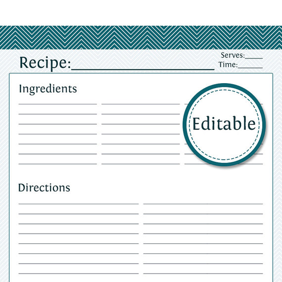 Recipe Card, Full Page   Fillable   Printable PDF   Instant