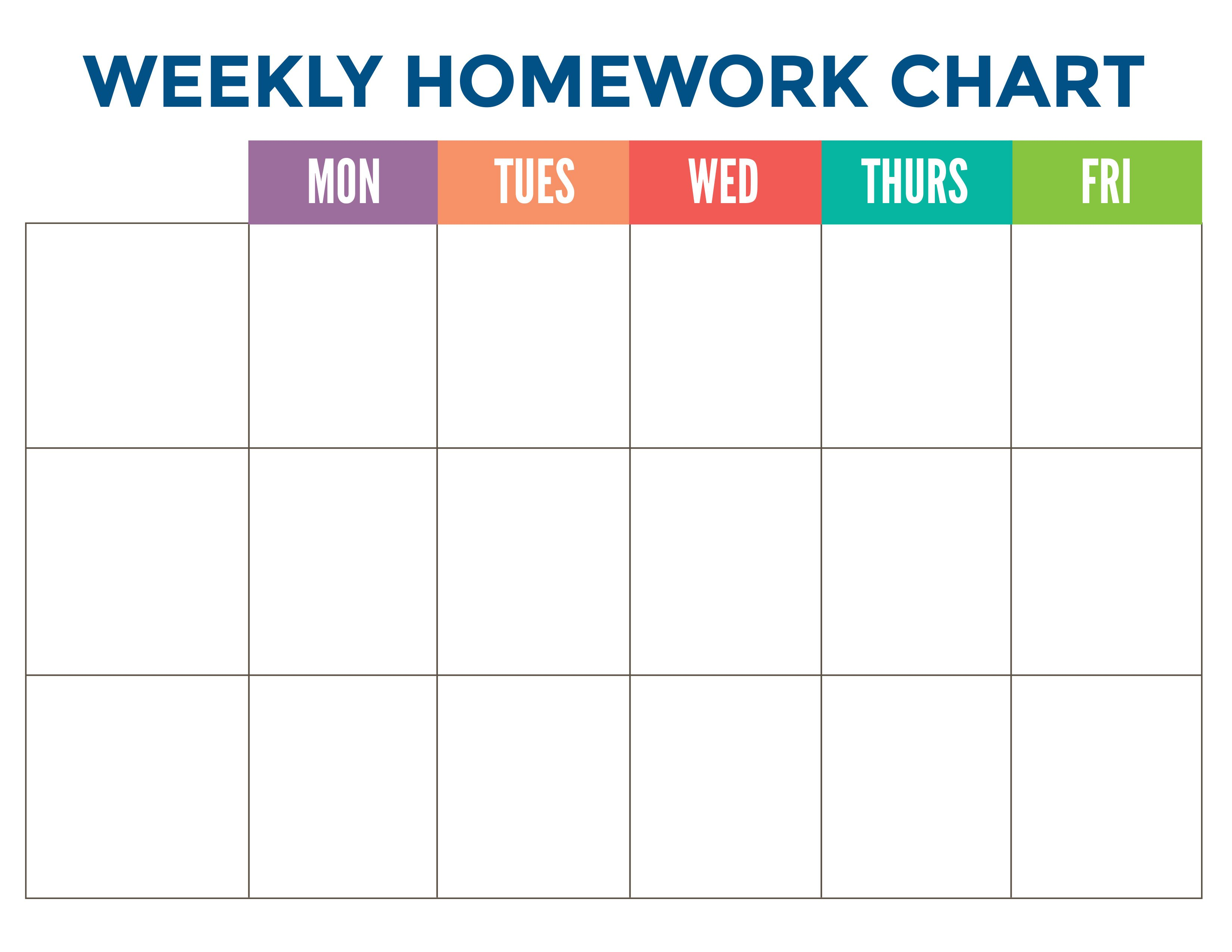 Printable Homework Chart | Label Circus