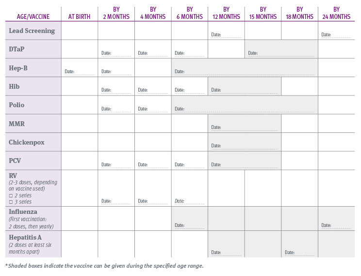 Printable Immunization Schedule and Immunization Record Template