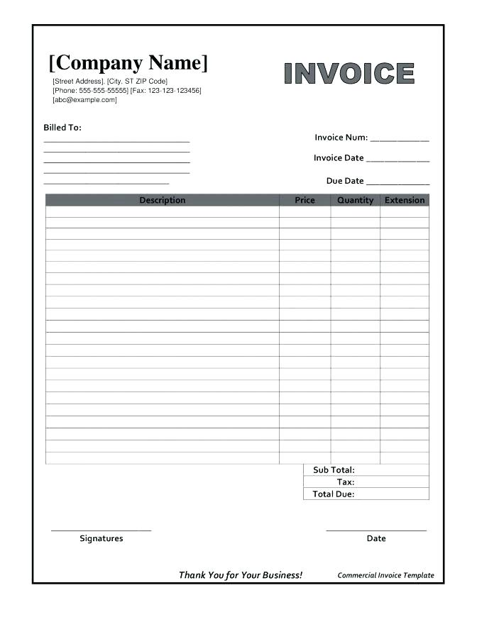 Free Blank Invoice Form Blank Invoice Form Excel Meloin Tandemco