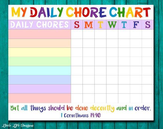 Chore chart for kids. Chore chart printable. Chore list. Kids | Etsy