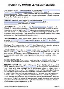 Free Printable Rental Lease Agreement Templates   PDF & Word