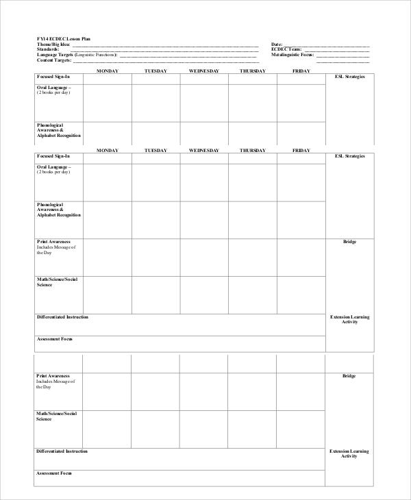 printable blank lesson plans   zrom.tk