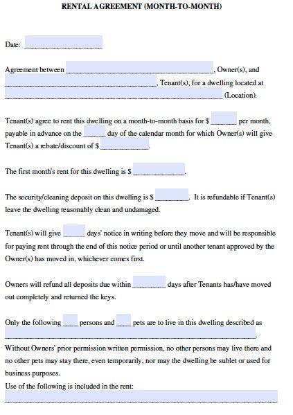rental agreement template month to month printable sample rental