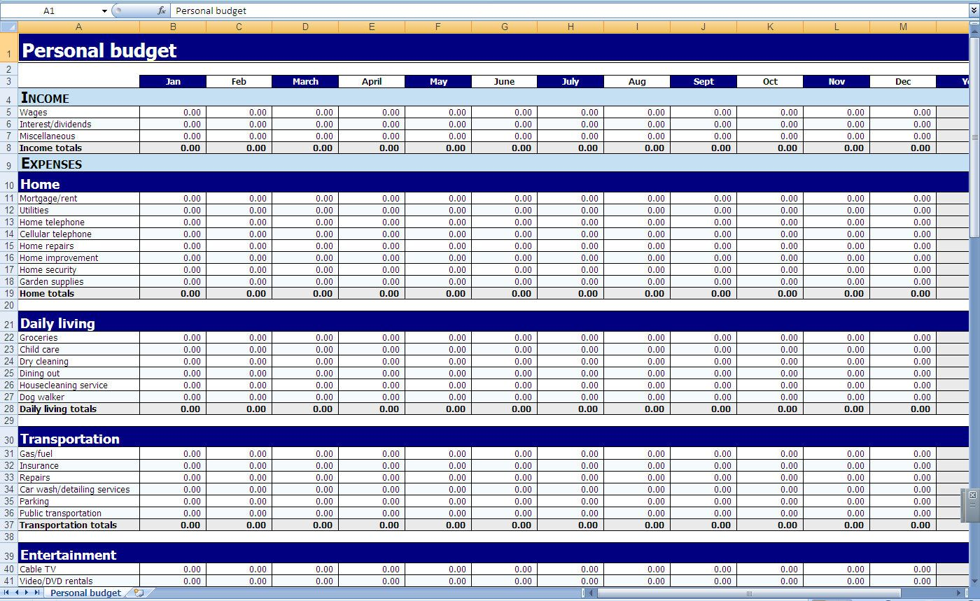Free Printable Monthly Budget Spreadsheet Tireeeasy Co Template
