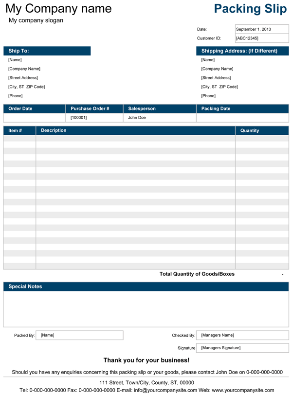 Packing Slip | Free Packing Slip Template for Excel