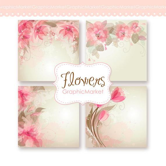 Wedding Digital Floral Card For Wedding Invites, Scrapbooking. 4