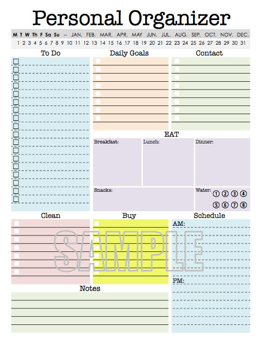 Personal Organizer   EDITABLE   Daily planner, weekly planner, to