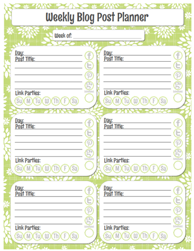 Organized Blog Planner free printable Weekly Post Planner